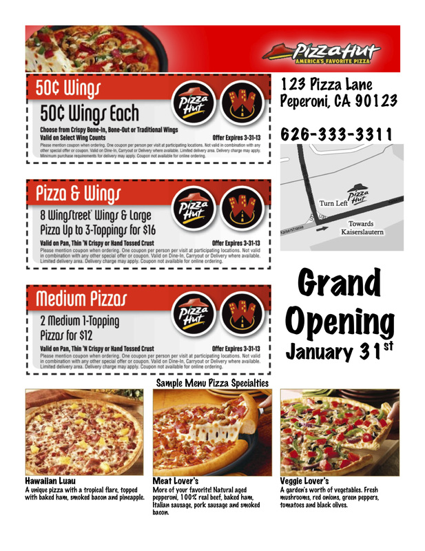 Pizza Grand Opening Flyer - Ms. Coria'S Classroom